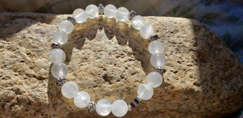 Selenite Beaded Bracelet Help With Anxiety Bracelet Calming image 0