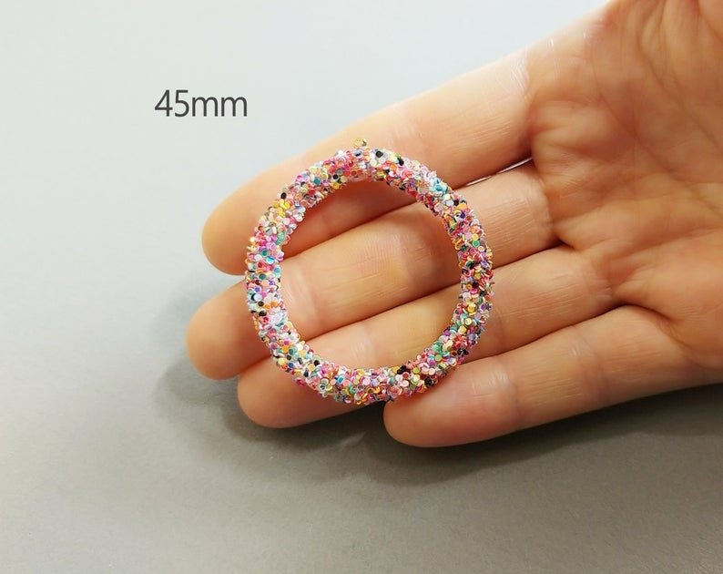 fashion jewelry 2 PCS EH0032 55mm Rose Glitter Sequin wrapped Hoop Pendant circle boho charm earrings 45mm