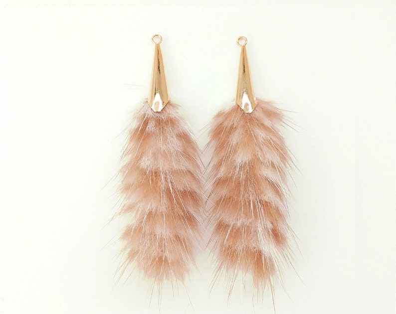2 pcs Peach White charm 2.7 70mm Mink Tassel with tulip cap keychain Hand Crafted Fur Teasel Supplies for jewelry