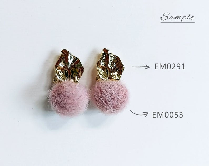 EM0291-G basic supply for girl earring Geometric Connector Unique Bumpy Post Earring 17 x 14 mm Gold plated Brass 2 PCS