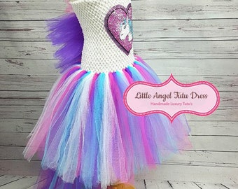e07c71b9d655f Unicorn Tutu Dress - Fancy Dress - Unicorn Costume - Birthday Party -  Handmade Dress - Reversible Sequins Dress - Kids Dress - Pony