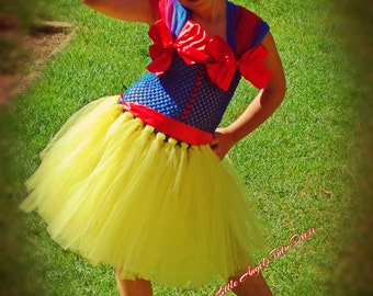 Snow White Fancy Dress Costume, Handmade Tutu Dress Costume, Halloween Snow White Costume
