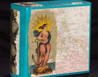 Salt Wife, Stash Box, Tarot Box, Jewelry Box, Handmade, Upcycle, decopauge, ocean, sea, anchor
