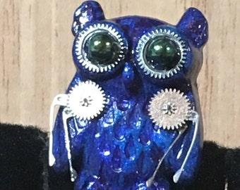 Clockwork Owl Pins (Small), button, brooch, bird, raptor, jewelry, unisex, hatpin, lapel pin, backpack, jacket, handmade