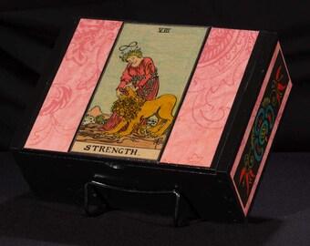 Strength Tarot Card box, stash box, major arcana, dice box, card box, jewelry box, wicca, witch, divination, feminine divine