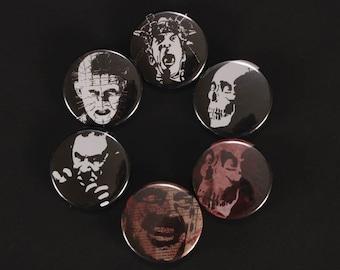 Movie Icon Buttons, horror, fandom, fan, Pinhead, Krank, Jack, Bela, Dracula, evil dead, pinback, lapel pin, skull, stencil art,