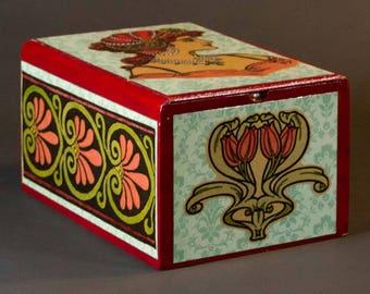 Lady In Red Box, stash, jewelry, treasure, tarot, decoupage, collage, cigar box, functional art, useful, storage, home decor, handmade