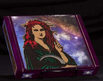 Gaia, Cosmic Mother, Stash box, jewelry box, dice box, handmade box, Art box, witch, tarot box, occult