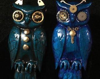 Clockwork Owl Pin (Large), lapel, backpack,bag, bird, raptor, polymer clay, geek, steampunk, hat, tie, watch parts, metal, handmade