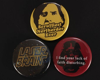 Inspired by Star Wars Buttons, pinback, fandom, Han Solo, wookie, Chewbacca, movie quotes
