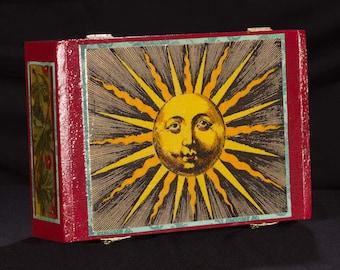 Sunburst, stash box, jewelry box, sun, celestial, sunface, decoupage, handmade, hinged box, storage, tarot box, antique engraving