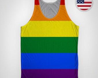 8a7e1828ac2c Gay Pride Flag (Horizontal) All-Over Tank Top