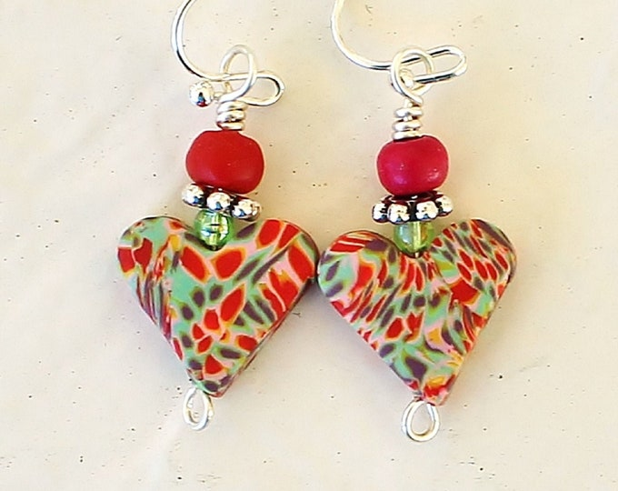 heart earrings, polymer earrings, polymer hearts, love earrings, Valentine gift, romantic gift, gift for her, polymer jewelry, love gift