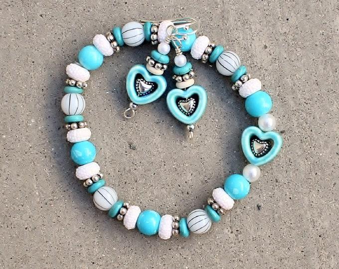 heart bracelet set, bracelet earrings set, love bracelet set, gift for her, romantic gift, love hearts set, blue hearts set