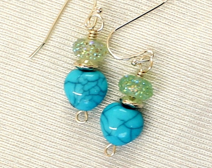 heart earrings, blue heart earrings, blue stone earrings, Valentine gift, gift for her, romantic gift, heart jewelry, love earrings