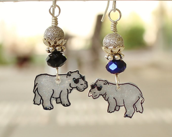 Hippo earrings,hippo jewelry,hippos,hippopotamus,African hippo,,hip hippos,safari,hand drawn,jungle earrings,jungle jewelry