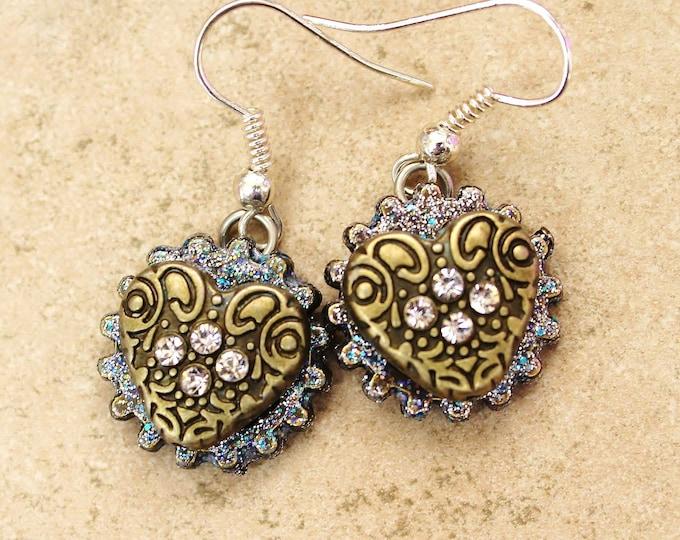 steampunk earrings, bronze heart earrings, heart earrings, bronze heart charm, gift for her, steampunk hearts,