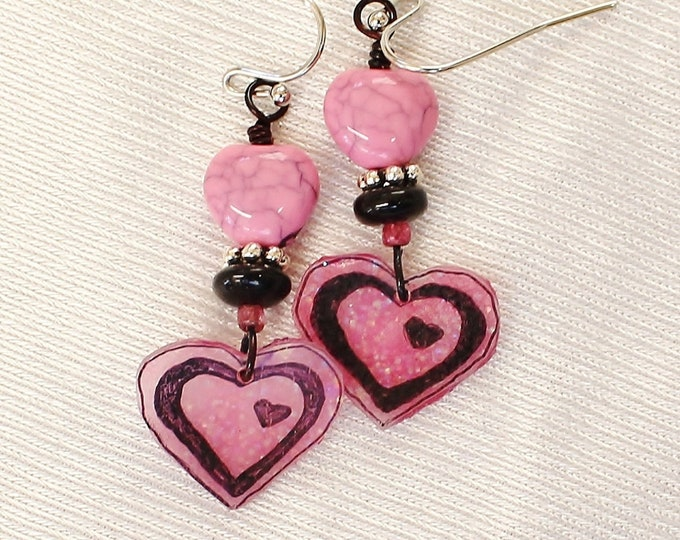 heart earrings, pink heart earrings, pink hearts, heart jewelry, Valentine gift, gift for her, love earrings, romantic gift