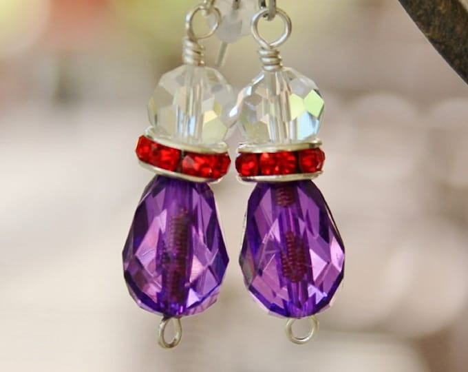 red hat earrings, red purple earrings, red and purple, red hat jewelry, red hat gift, gift for her
