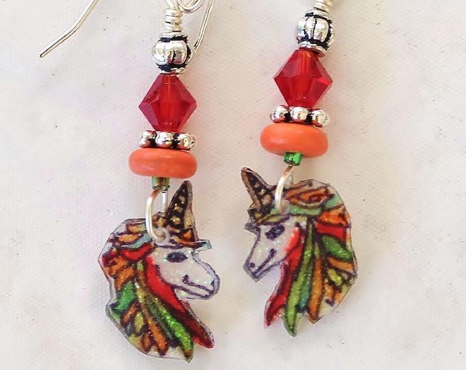 Unicorn earrings, unicorn jewelry, magic horse, gift for her, kids earrings, unicorn gift, horse earrings, animal earrings