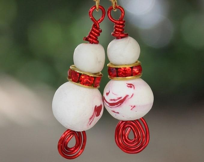 Bead earrings, polymer bead earrings, polymer earrings, Red and white earrings,snowball earrings,gift for her,handmade beads,winter earrings