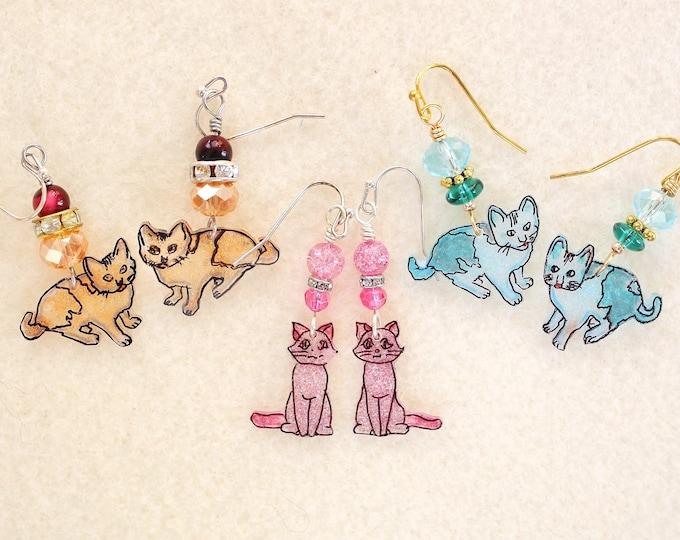Cat earrings, kitty earrings, feline earrings, cat lover gift, gift for her, hand drawn cats, miaou earrings, kittycat earrings