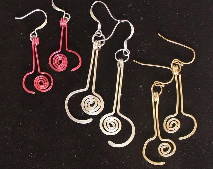 Wire earrings, hammered wire earrings, curly wire earrings, gift for her,long wire swirl, long wire earrings, earring gift
