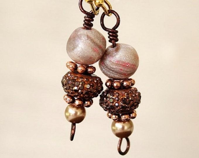 Bead earrings, sparkle bead earrings, satin bead earrings, bead jewelry, sparkle earrings, gift for her