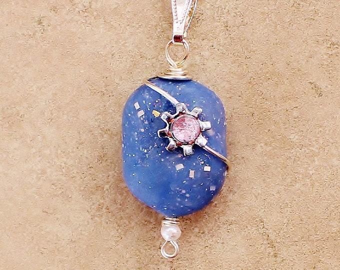 polymer bead necklace, polymer bead pendant, bead pendant, polymer bead jewelry, goft for her, handmade bead