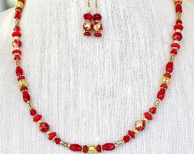 Bead necklace earring set, bead necklace, bead earrings, necklace earrings set, long bead necklace, red faceted beads, gift for her