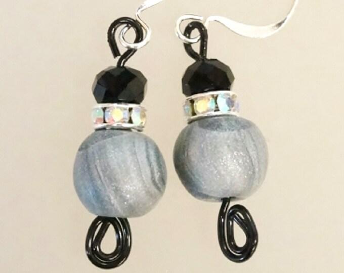 Bead earrings, polymer earrings, round bead earrings, silver clay earrings, elegant earrings, handmade polymer bead earrings, gift for her