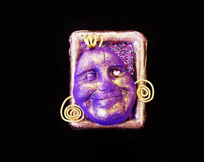 polymer pin, polymer face, polymer brooch, face brooch, punk pin, punk face, punk brooch, punk gift, purple face pin, purple face brooch
