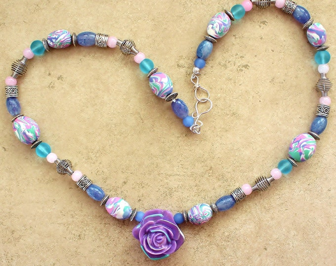 lavender rose necklace, polymer bead necklace, lavender necklace, bead necklace, gift for her, flower bead necklace, handmade beads
