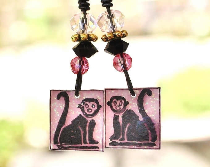 monkey earrings, monkey tail earrings, capuchin monkeys, capuchin earrings, gift for her, primate earrings, animal earrings, zoo earrings
