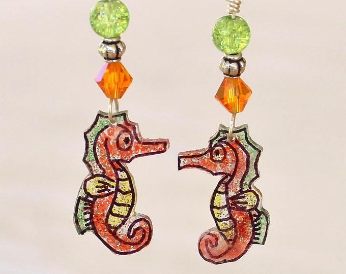seahorse earrings, ocean earrings, ocean jewelry, seahorse jewelry, gift for her, sea animal earrings, handmade seahorses,