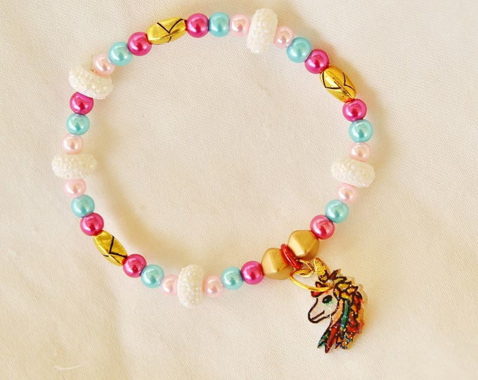 unicorn bracelet, magical beast, girl bracelet, unicorn bead bracelet, kid gift, kid bracelet, kid jewelry, magic horse jewelry