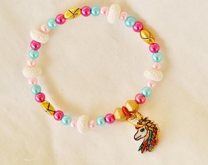 unicorn bracelet, magical beast, girl bracelet, unicorn bead bracelet, kid gift, kid bracelet, kid jewelry, magic horse jewelry