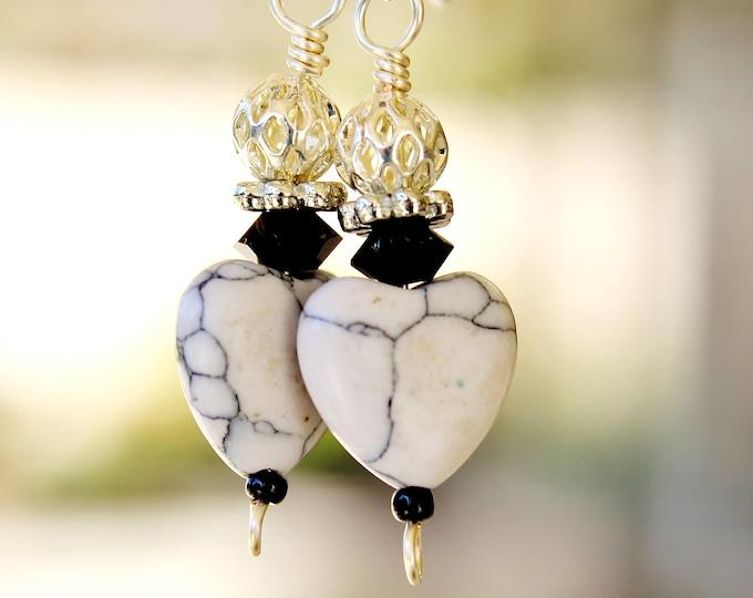 heart earrings, white heart earrings, faux stone heart, valentine gift, gift for her, love gift, romantic gift