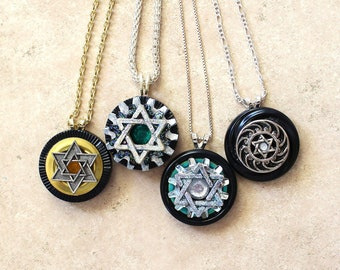 Star of David on black button pendant, Judaica necklace, judaica pedant, jewish jewelry, jewish necklace, gift for her, Hanukkah gift