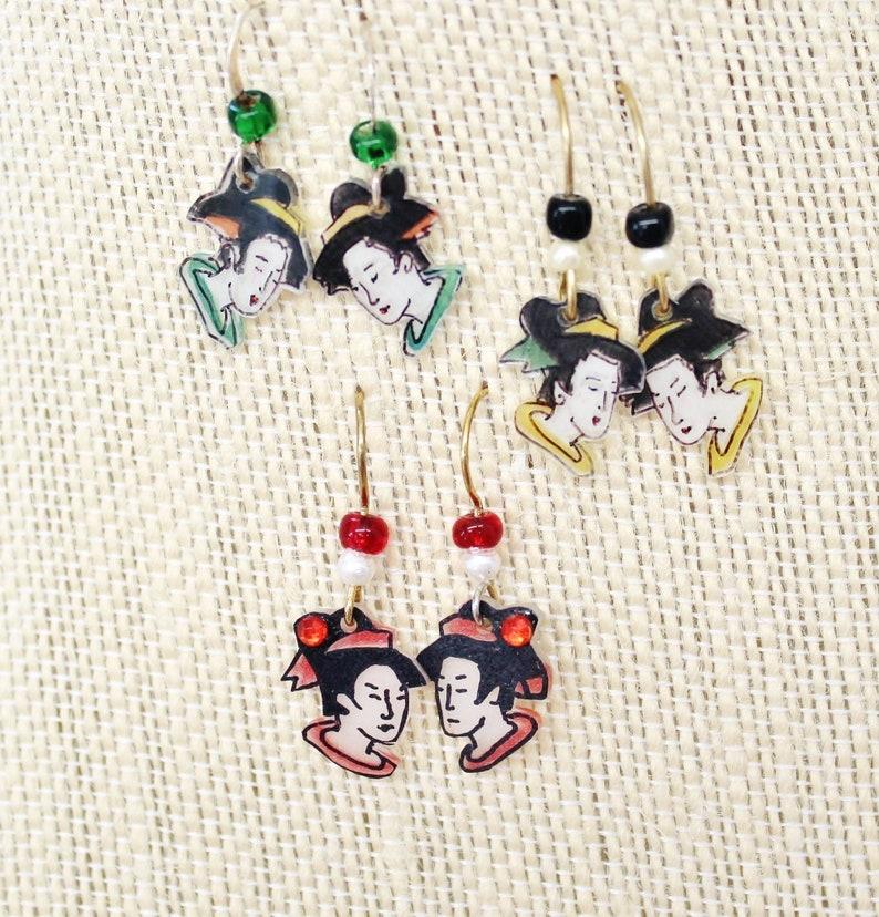 Mini Geisha girl earrings Geisha jewelry Japanese jewelry image 0