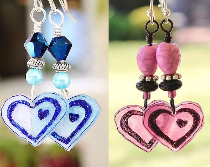 heart earrings, pink heart earrings, pink hearts, heart jewelry, Valentine gift, gift for her, love earrings, blue heart earrings
