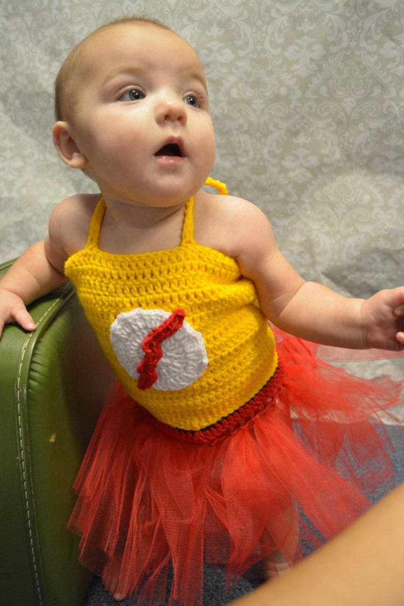 Crochet Baby Girl Kid Flash Tutu Costume