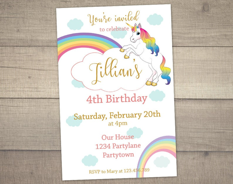 Unicorn Birthday Invitation Rainbow
