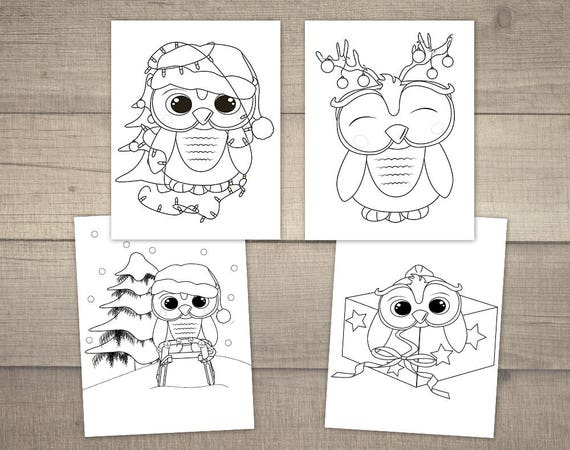 Christmas Coloring Pages Christmas Owl Christmas Coloring Etsy