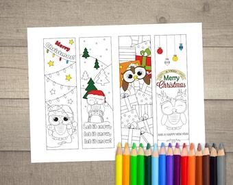Christmas Coloring Bookmarks, Christmas Bookmark, Printable Bookmarks, Printable Christmas Gift, Christmas Coloring - 4 designs digital File
