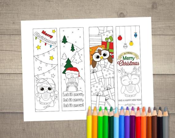 Kleurplaten Kerst A4 Formaat.Kerst Boekenlegger Kleurplaat Kerstmis Kleurplaten Etsy