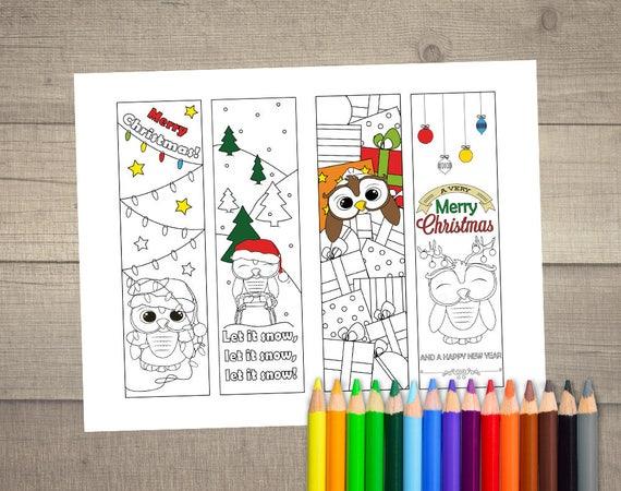 Kleurplaten Kerst A4.Kerst Boekenlegger Kleurplaat Kerstmis Kleurplaten Etsy