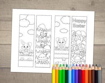 Easter Coloring Bookmarks, Easter Bookmarks, Printable Bookmarks Easter, Bunny Bookmarks, Easter Basket Stuffer  - 4 designs digital File