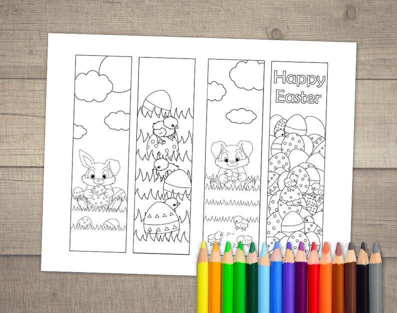 Kleurplaten Pasen A4.Pasen Boekenlegger Kleurplaat Pasen Kleurplaten Boekenlegger Etsy