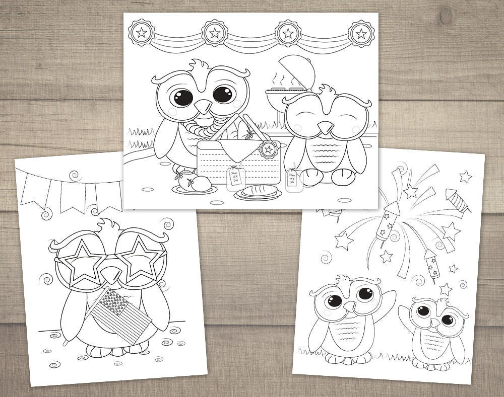 4th of july coloring pages independence day coloring owl coloring pages printable 4th of july coloring 3designs digital file